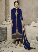 Attractive & Modern Navy Blue Colored Cotton Satin Premium Suit