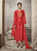 Attractive & Modern Red Colored Cotton Satin Suit