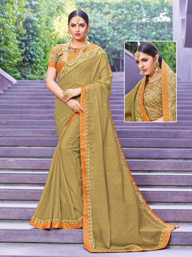 Alluring & Vibrant Beige Colored Chinnon Saree