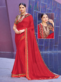 Alluring & Vibrant Red Colored Moss Chiffon Saree