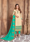 Attractively Designed Cream Colored Georgette Designer Semi Stitched Suit