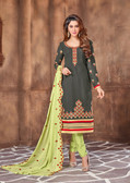 Attractively Designed Green Colored Georgette Designer Semi Stitched Suit