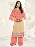 Incredibly Gorgeous Light Pink & Cream Colored Georgette & Cap Georgette Premium Suit