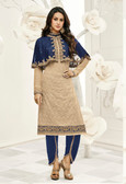 Incredibly Gorgeous Blue & Beige Colored Georgette & Cap Georgette Suit