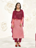 Incredibly Gorgeous Deep Maroon & Light Pink Colored Georgette & Cap Georgette Suit