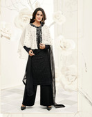Incredibly Gorgeous White & Black Colored Georgette & Cap Georgette Suit