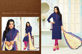 Beautiful & Modern Navy Blue Colored Chanderi Cotton Unstitched Salwar Suit