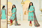 Beautiful & Modern Sky Green Colored Chanderi Cotton Unstitched Salwar Suit
