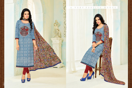 Beautiful & Modern Blue Colored Chanderi Cotton Unstitched Salwar Suit