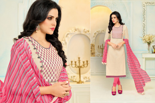 Beautiful & Modern Light Beige Colored Chanderi Cotton Unstitched Salwar Suit