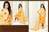 Beautiful & Modern Yellow Colored Chanderi Cotton Unstitched Salwar Suit