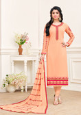 Enchanting & Lively Orange Colored Georgette Premium Salwar Suit