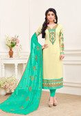 Enchanting & Lively Light Yellow Colored Georgette Salwar Suit