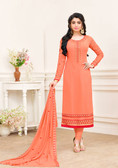 Enchanting & Lively Orange Colored Georgette Designer Salwar Suit