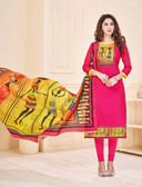 Attractive & Elegant Pink Colored Mixed Silk with Digital Print Suit