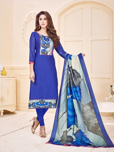 Attractive & Elegant Navy Blue Colored Mixed Silk with Digital Print Suit