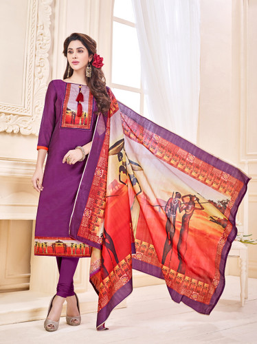 Attractive & Elegant Cream Colored Mixed Silk with Digital Print Suit