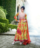 Vibrant In Style Multi color Georgette Print Suit