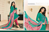 Timeless & Classy Teal Green Colored Chanderi Cotton Salwar Suit