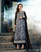 Vibrant In Style Grey color Georgette Print Suit