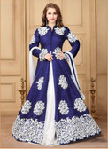 Gorgeous & Flowing Shine Blue Colored Khadi Silk Heavy Designer Semi stiched Suit