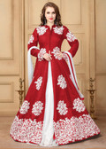 Gorgeous & Flowing Red Colored Khadi Silk Heavy Designer Semi Stiched Suit
