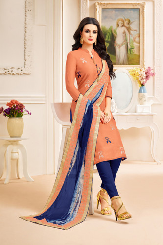 Classy & Stylish Orange Color Chanderi Silk Suit