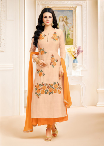 Classy & Stylish Cream Color Modal Silk Lown Suit