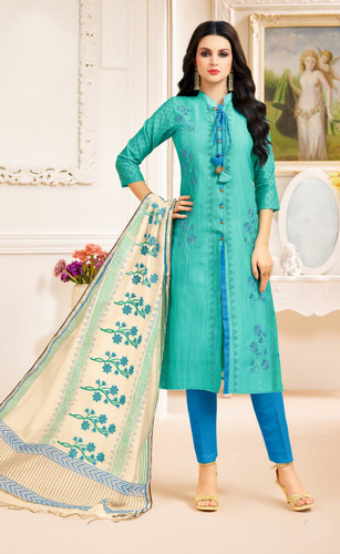 Classy & Stylish Green Color Chanderi Silk Printed Suit