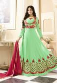 Vibrant & Exquisite Pista Green Colored Georgette Heavy Designer Semi Stiched Suit