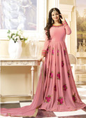Vibrant & Exquisite Light Pink Colored Georgette Heavy Designer Semi Stiched Suit