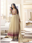 Vibrant & Exquisite off White Colored Georgette Heavy Designer Semi Stiched Suit