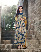 Vibrant In Style Blue & Off White color Georgette Print Suit