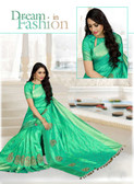 Lively & Classy Green Color Dupion Raw Silk Saree