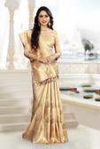 Lively & Classy Golden Color Dupion Raw Silk Saree