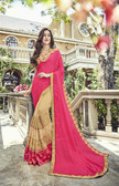 Vibrantly Alluring Cream & Pink Colored Designer Embroidery Work Saree