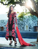 Vibrant In Style Black & Dusty Pink color Georgette Print Suit