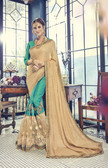 Vibrantly Alluring Sky Blue & Cream Colored Designer embroidery Work Saree