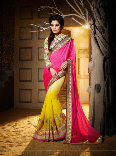 Delightful & Charming Green Colored Georgette Designer Saree
