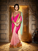 Delightful & Charming Green Colored Georgette Premium Saree