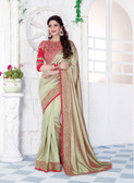 Enthralling & Graceful Beige Colored Silk Saree