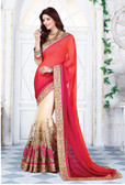 Enthralling & Graceful Pink, Orange & Beige Colored Satin Saree