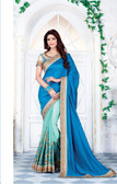 Enthralling & Graceful Blue & Sea Green Colored Satin & Silk Saree