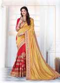 Enthralling & Graceful Yellow & Red Colored Silk Saree