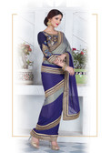 Enthralling & Graceful Grey & Blue Colored Satin Chiffon Saree