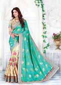 Enthralling & Graceful Sea Green & Beige Colored Jaquard & Silk Saree