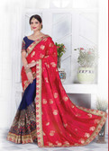 Enthralling & Graceful Red & Blue Colored Jaquard & Silk Saree