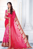 Enthralling & Graceful Red & Pink Colored Satin Saree