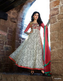 Vibrant In Style Off White color Georgette Print Suit