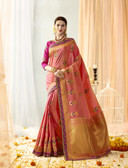 Graceful & Gorgeous Orange & Pink Colored Banarasi Silk Jaquard Saree